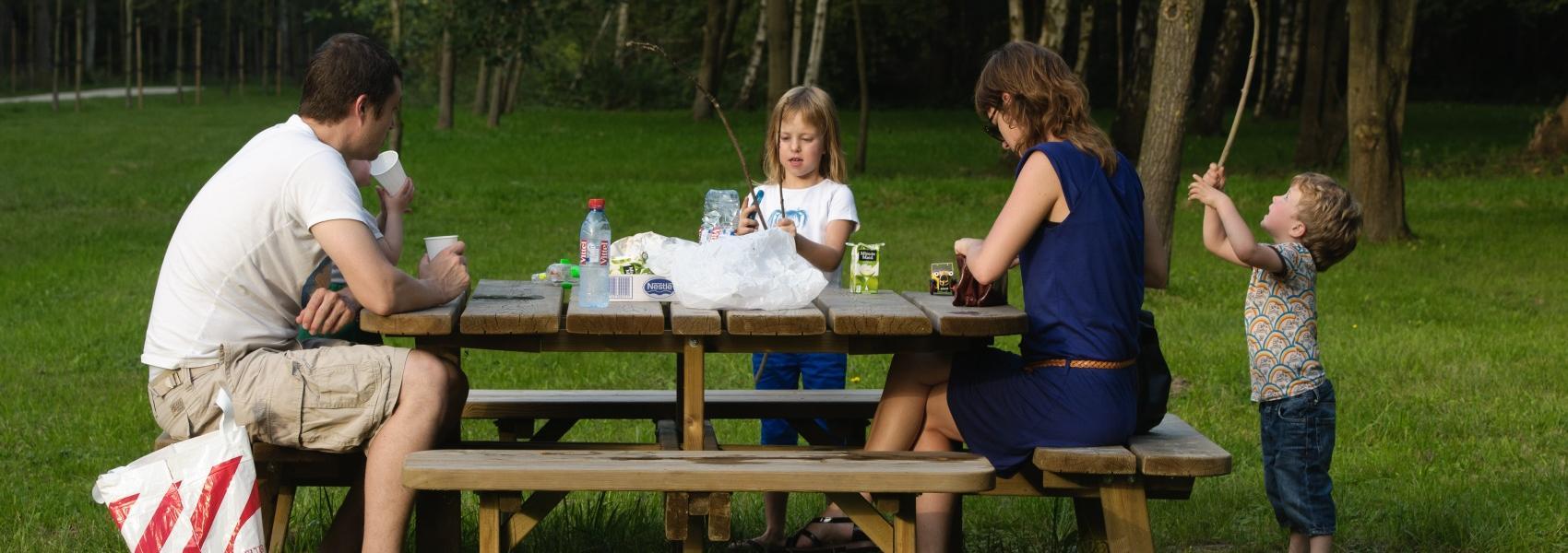 gezin op picknickbank