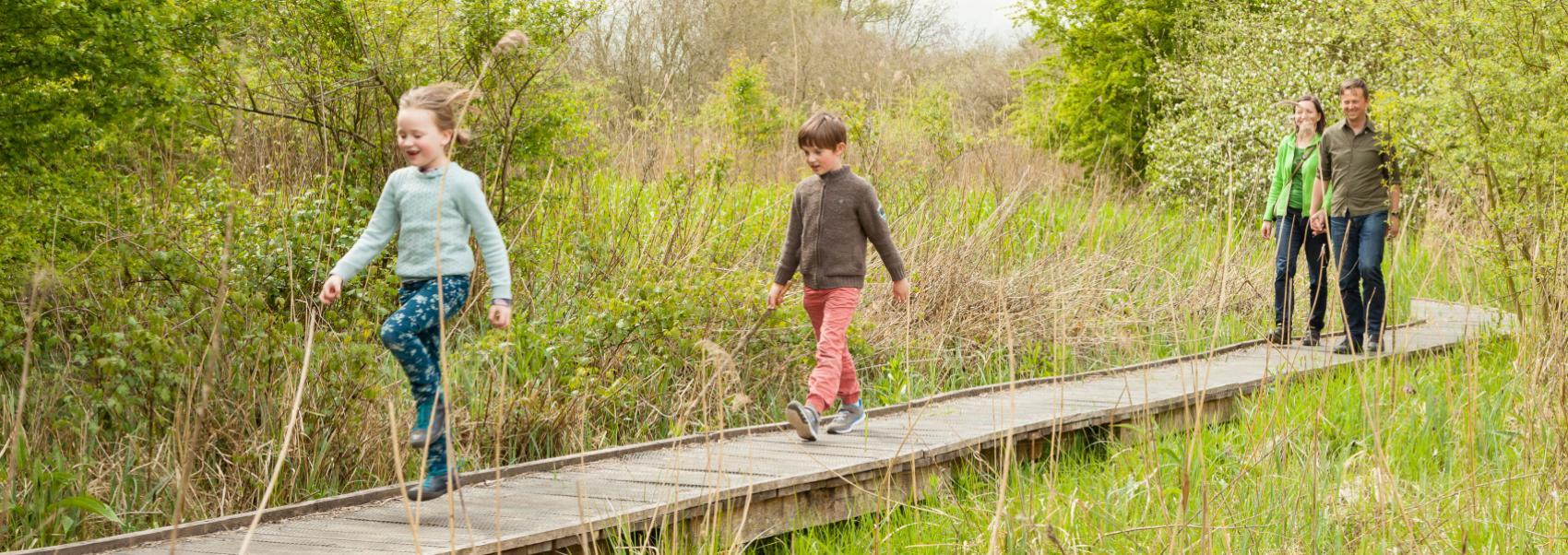 gezin aan het wandelen op een knuppelpad