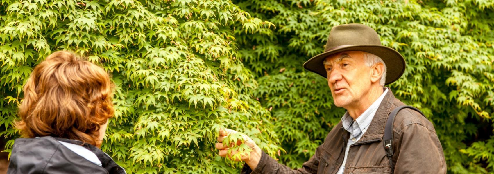 boswachter geeft uitleg over planten