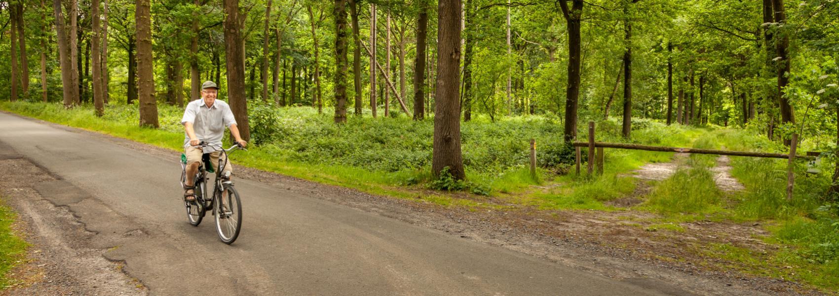 een fietser op de weg die door het bos loopt