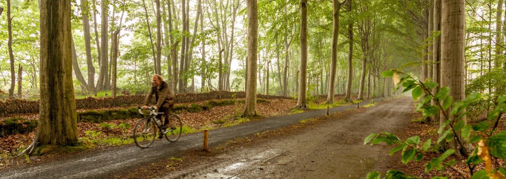 fietser in een modderige dreef