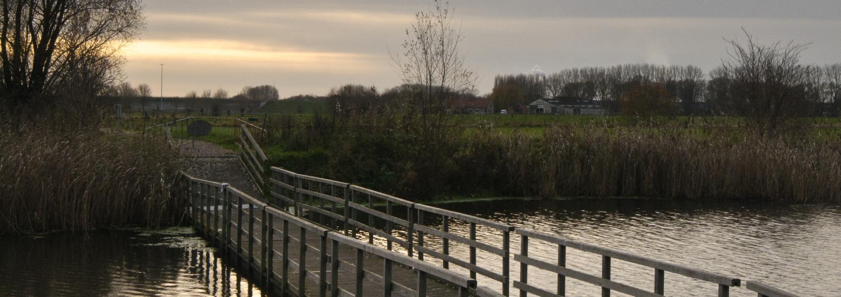 voetgangersbrug over het water