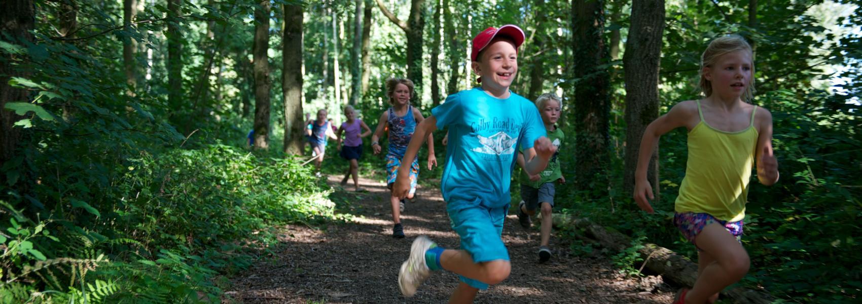 lopende kinderen in het bos