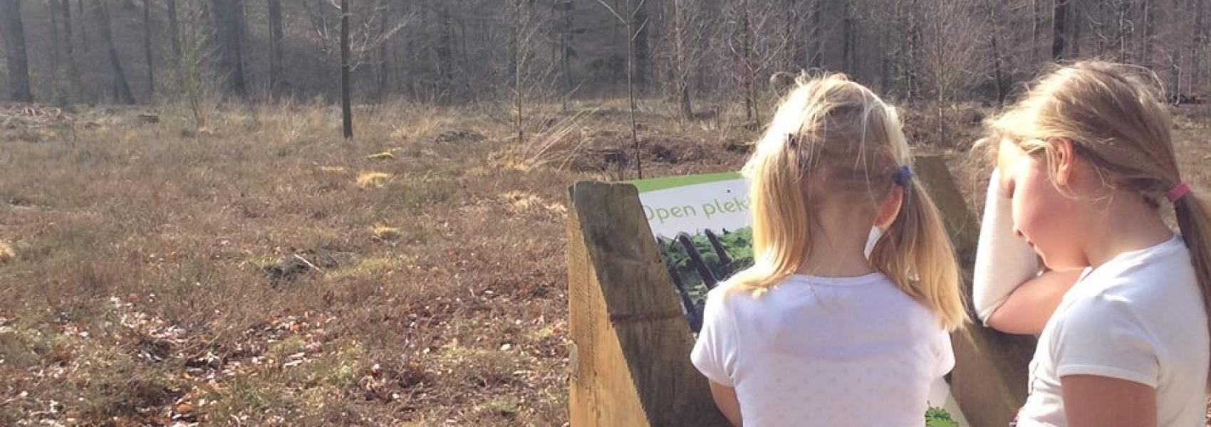 Kinderen lezen infobord in Brakelbos