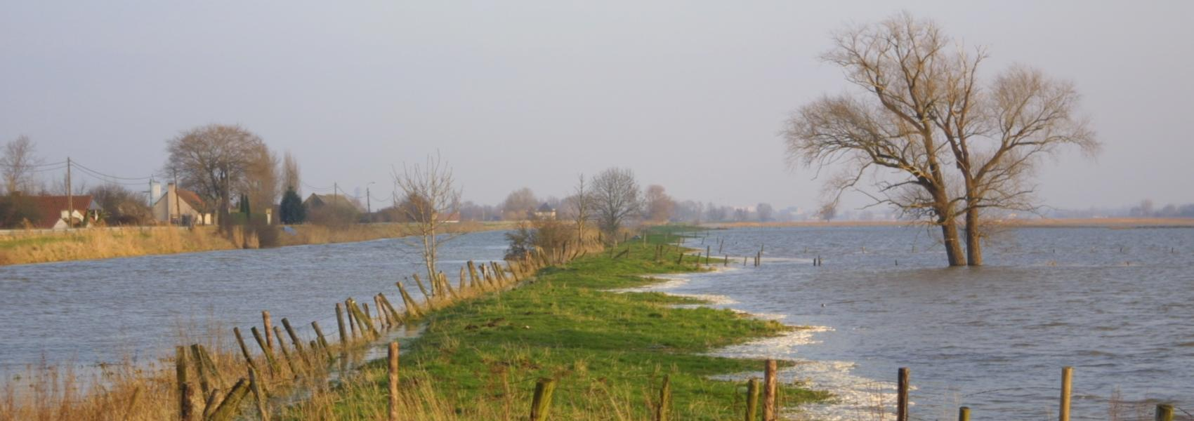 het overstroomde landschap