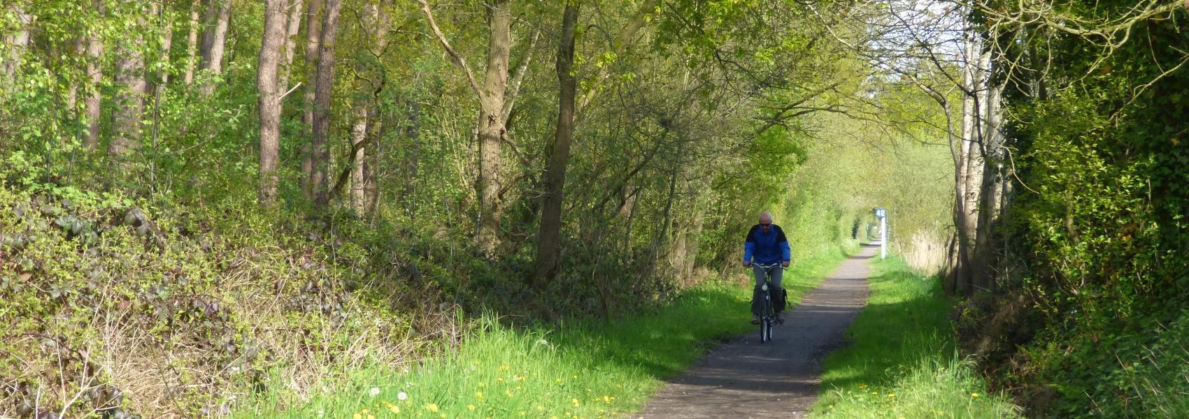 fietser in een dreef