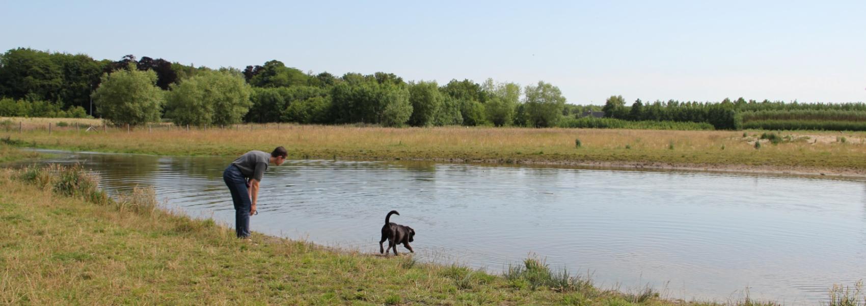 man met hond aan de vijver in de hondenzone