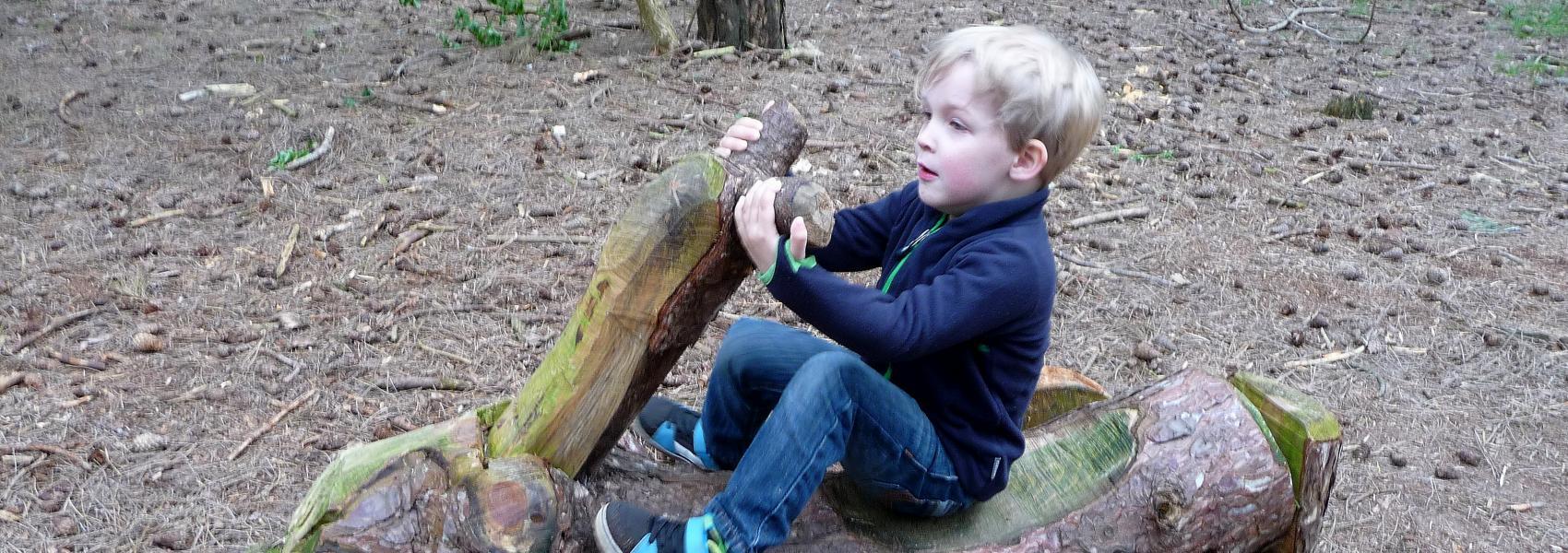 een kind op een natuurlijke gocart