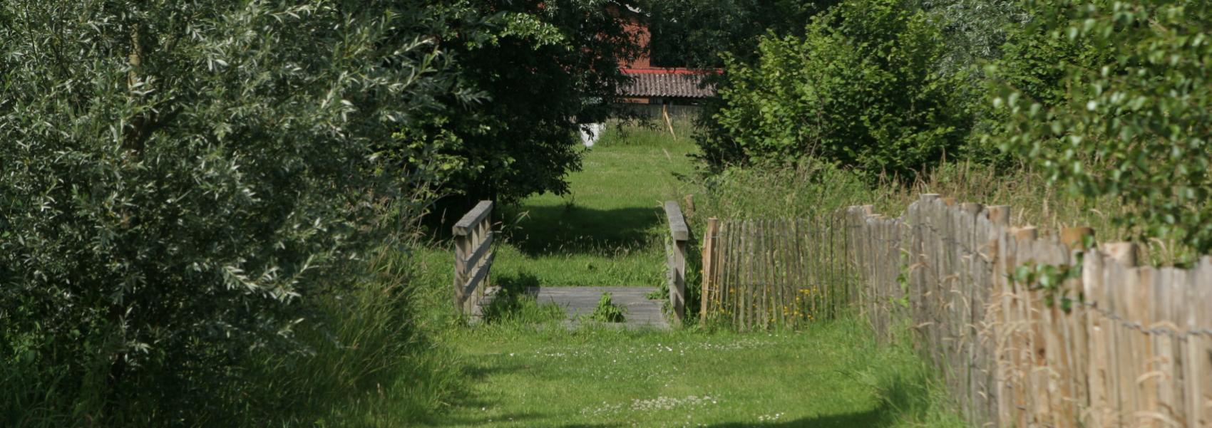 grasdreef met op het einde een brugje